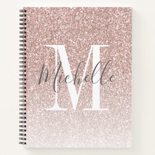 Girly Rose Gold Blush Pink Glitter Monogram Name Notebook