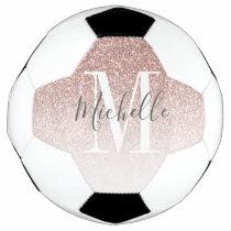 Girly Rose Gold Blush Pink Glitter Monogram Name Soccer Ball
