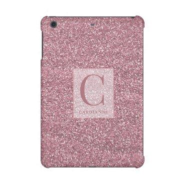 Girly Rose Gold   Blush Pink Sparkle Glitter iPad Mini Case