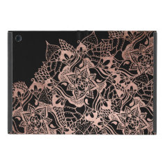 Girly  Rose Gold Boho Hand Drawn Mandala Cover For Ipad Mini at Zazzle