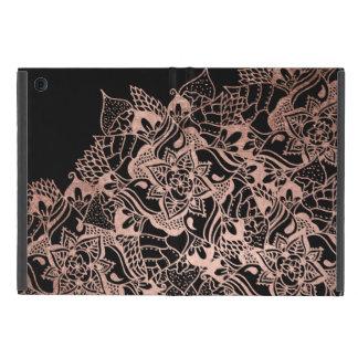 Girly  rose gold boho hand drawn mandala iPad mini case