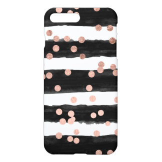 Girly rose gold confetti black watercolor stripes iPhone 7 plus case