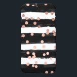 "Girly rose gold confetti black watercolor stripes iPhone 8 plus/7 plus case<br><div class=""desc"">An elegant,  chic and glam faux rose gold foil confetti and polka dots on a hand painted black watercolor stripes. The white color background is fully customizable</div>"