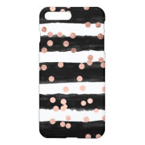 Girly rose gold confetti black watercolor stripes iPhone 8 plus/7 plus case