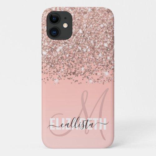 Girly Rose Gold Confetti Pink Gradient Monogram Phone Case