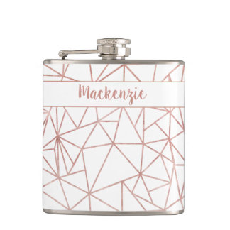 Girly Rose Gold Foil Geometric Name or Monogram Flask