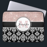 """Girly Rose Gold Glitter Black Damask Monogrammed Laptop Sleeve<br><div class=""""desc"""">Personalize this girly, rose gold glitter with a sparkle effect, black and white floral damask pattern, and a black sold line with a circle design. Add your monogram initial and your name in a gorgeous script font. A cute monogrammed design for her. Glitter is a PRINTED photo effect. Perfect for...</div>"""