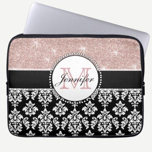 Girly Rose Gold Glitter Black Damask Monogrammed Laptop Sleeve