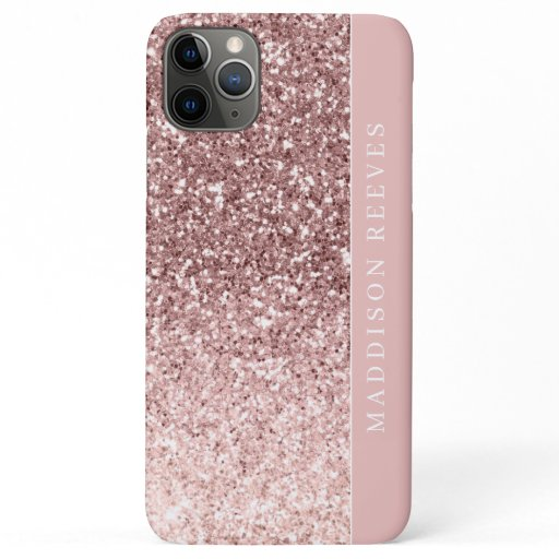 Girly Rose Gold Glitter Blush Monogram iPhone 11 Pro Max Case