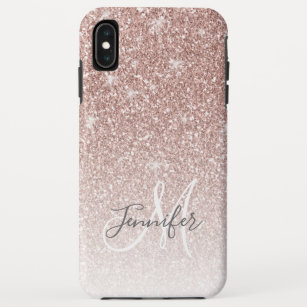 san francisco e9ff0 d0ecc Girly Rose Gold Glitter Blush Monogram Name iPhone XS Max Case