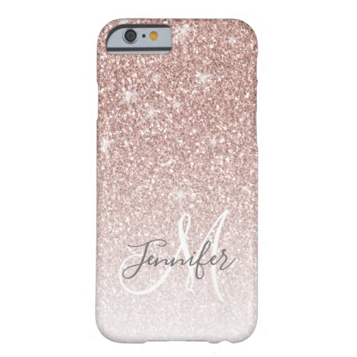 Girly Rose Gold Glitter Blush Monogram Name Barely There iPhone 6 Case