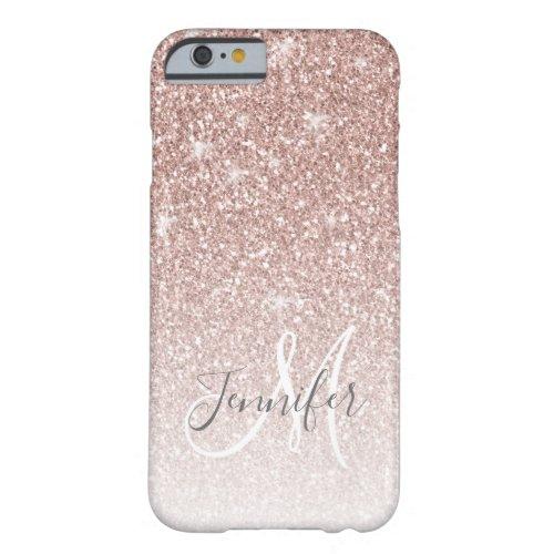 Girly Rose Gold Glitter Blush Monogram Name Phone Case