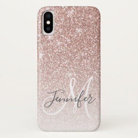 Girly Rose Gold Glitter Blush Monogram Name iPhone X Case