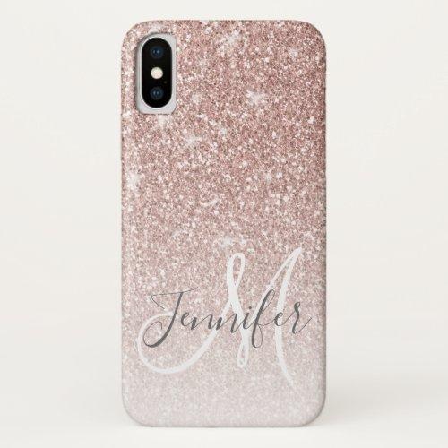 Girly Rose Gold Glitter Blush Monogram Name iPhone X Case