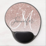 "Girly Rose Gold Glitter Blush Monogram Name Gel Mouse Pad<br><div class=""desc"">Chic Girly Rose Gold Glitter Blush Monogram Name Design. Personalize with your name,  monogram,  initial or text. Elke Clarke © You can change text color and font style using the customize it further option. Faux glitter with sparkle effect.</div>"