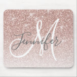 "Girly Rose Gold Glitter Blush Monogram Name Mouse Pad<br><div class=""desc"">Chic Girly Rose Gold Glitter Blush Monogram Name Design. Personalize with your name,  monogram,  initial or text. Elke Clarke © You can change text color and font style using the customize it further option. Faux glitter with sparkle effect.</div>"