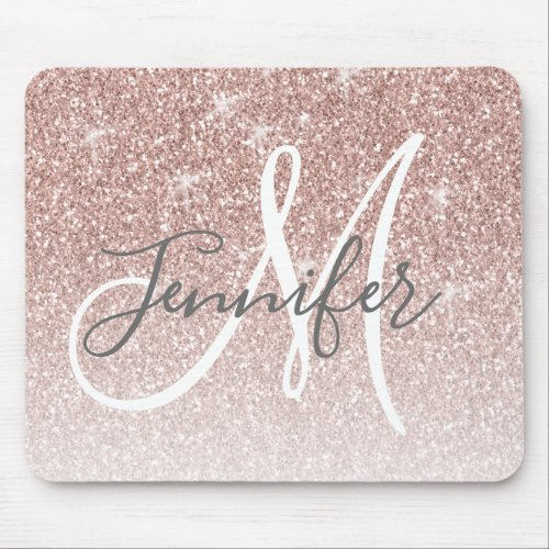 Girly Rose Gold Glitter Blush Monogram Name Mouse Pad