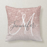 "Girly Rose Gold Glitter Blush Monogram Name Throw Pillow<br><div class=""desc"">Chic Girly Rose Gold Glitter Blush Monogram Name Design. Personalize with your name,  monogram,  initial or text. Elke Clarke © You can change text color and font style using the customize it further option. Faux glitter with sparkle effect. Perfect for a girly girl's bedroom.</div>"