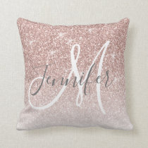 Girly Rose Gold Glitter Blush Monogram Name Throw Pillow