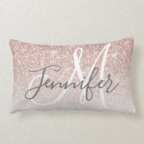 Girly Rose Gold Glitter Blush Name Monogram Lumbar Pillow