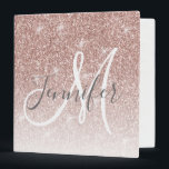 "Girly Rose Gold Glitter Blush Pink Monogram Name 3 Ring Binder<br><div class=""desc"">Chic Girly Rose Gold Glitter Blush Monogram Name Design. Personalize with your name,  monogram,  initial or text. Elke Clarke © You can change text color and font style using the customize it further option. Faux glitter with sparkle effect. Perfect for a girly girl.</div>"