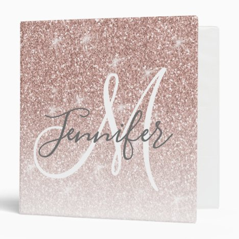 Girly Rose Gold Glitter Blush Pink Monogram Name 3 Ring Binder