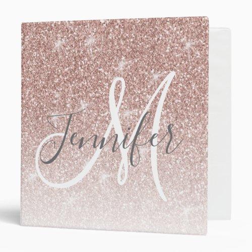 Girly Rose Gold Glitter Blush Pink Monogram Name 3 Ring Binder