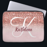"Girly Rose Gold Glitter Burgundy Monogram Name Laptop Sleeve<br><div class=""desc"">GIRLY,  PERSONALIZED,  FAUX ROSE GOLD GLITTER EFFECT,  PRINTED on FLAT SURFACE,  FOR HER. with your name or monogram,  initial or text. Hand lettered script with white and Burgundy colors. Elke Clarke ©</div>"