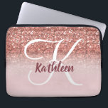 """Girly Rose Gold Glitter Burgundy Monogram Name Laptop Sleeve<br><div class=""""desc"""">GIRLY,  PERSONALIZED,  FAUX ROSE GOLD GLITTER EFFECT,  PRINTED on FLAT SURFACE,  FOR HER. with your name or monogram,  initial or text. Hand lettered script with white and Burgundy colors. Elke Clarke ©</div>"""
