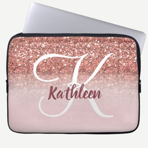 Girly Rose Gold Glitter Burgundy Monogram Name Laptop Sleeve