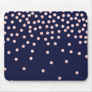 girly rose gold glitter confetti polka dots mouse pad