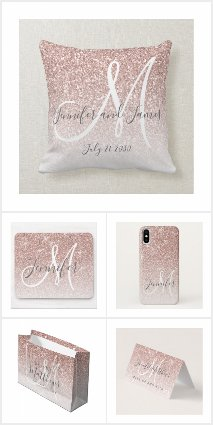 Girly Rose Gold Glitter Custom Monogram Name