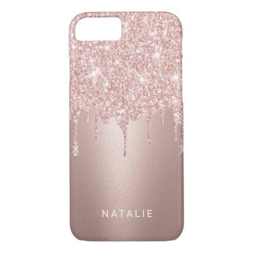 Girly Rose Gold Glitter Drips Custom Name Phone Case