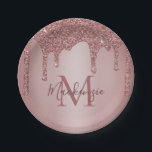 """Girly Rose Gold Glitter Drips Monogram Birthday Paper Plate<br><div class=""""desc"""">Girly Rose Gold Glitter Drips Monogram Birthday Paper Plates with your monogram and name on our trendy, chic, faux rose gold/blush pink glitter drips. Great for parties and birthdays. Designed by Cedar and String. To personalize further, please click the """"customize further"""" link and use the design tool to modify the...</div>"""