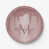 Girly Rose Gold Glitter Drips Monogram Birthday Paper Plate
