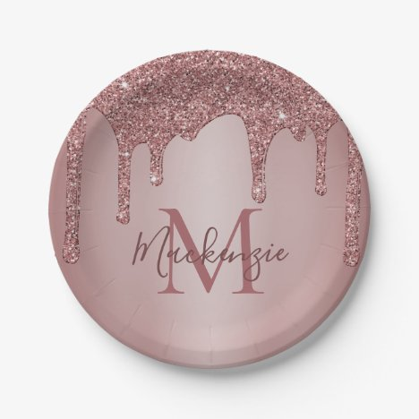 Girly Rose Gold Glitter Drips Monogram Birthday Paper Plate