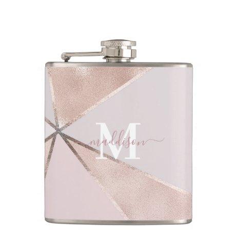 Girly Rose Gold Glitter Geometric Monogram Flask