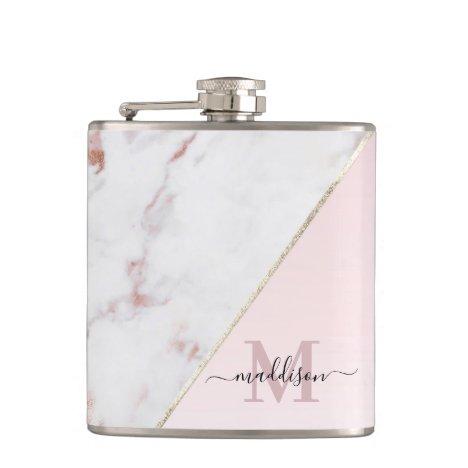 Girly Rose Gold Glitter Marble Monogram Flask