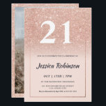 "Girly rose gold glitter ombre pink chic 21 invitation<br><div class=""desc"">A girly, elegant and chic rose gold glitter ombre sparkles and geometric frame border 21st birthday party invitation, on an editable soft pastel blush pink background and a modern elegant script font, this is perfect for elegant girly party., add your photo at the back, turning 21!! Celebrating twenty first birthday....</div>"