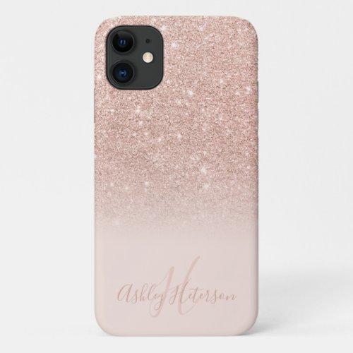 Girly rose gold glitter ombre sparkles monogrammed Phone Case