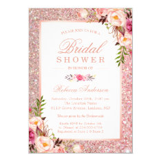 Girly Rose Gold Glitter Pink Floral Bridal Shower Card at Zazzle