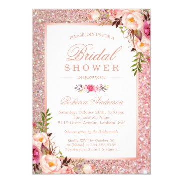 CardHunter Girly Rose Gold Glitter Pink Floral Bridal Shower Card