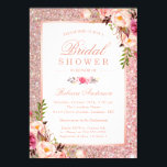 "Girly Rose Gold Glitter Pink Floral Bridal Shower Invitation<br><div class=""desc"">================= ABOUT THIS DESIGN ================= Girly Rose Gold Glitter Pink Floral Bridal Shower Invitation. (1) For further customization, please click the &quot;Customize&quot; button and use our design tool to modify this template. All text style, colors, sizes can be modified to fit your needs. (2) Note that it&#39;s not real gold...</div>"