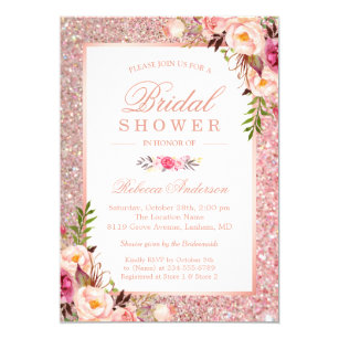 Glitter bridal shower invitations zazzle girly rose gold glitter pink floral bridal shower invitation filmwisefo