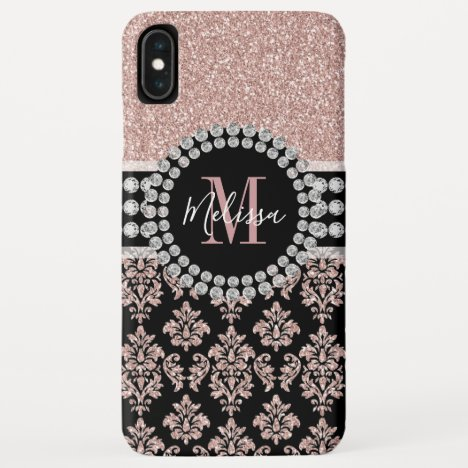 Girly Rose Gold Glitter Sparkle Monogram Name iPhone XS Max Case
