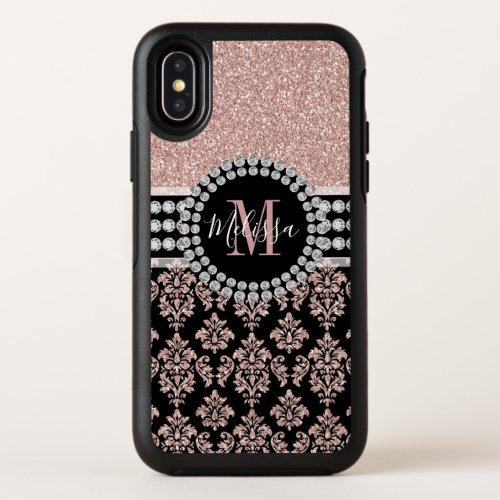 Girly Rose Gold Glitter Sparkle Monogram Name Phone Case