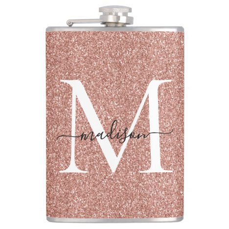 Girly Rose Gold Glitter Sparkle Stylish Monogram Flask