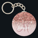 "Girly Rose Gold Glitter Sparkles Monogram Name Keychain<br><div class=""desc"">GIRLY,  PERSONALIZED,  FAUX ROSE GOLD GLITTER EFFECT,  PRINTED on FLAT SURFACE,  FOR HER. with your name or monogram,  initial or text. Elke Clarke ©</div>"