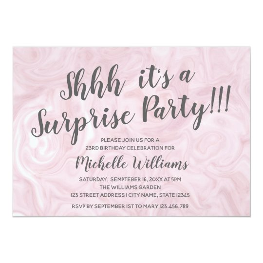 Girly Rose Gold Marble Surprise Party Birthday Invitation
