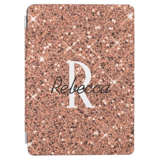 Girly Rose Gold Monogram Name iPad Air Cover